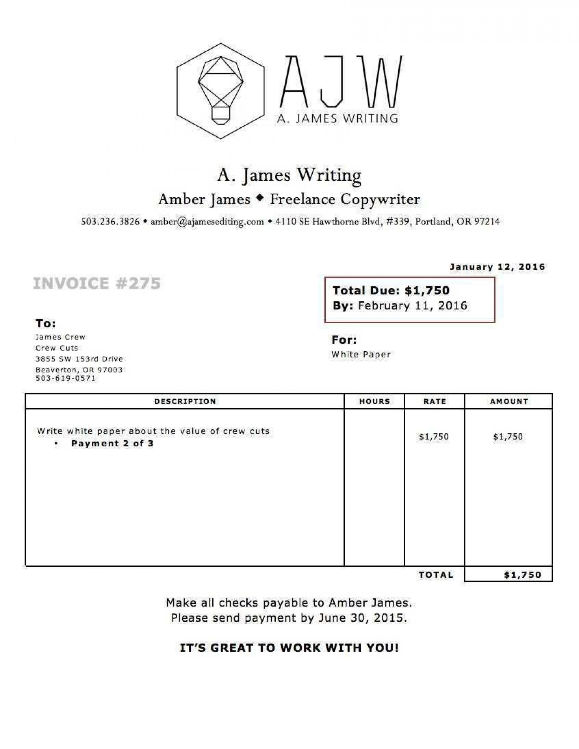 002 Impressive Invoice Template Uk Freelance Picture  Example Sample Word1920