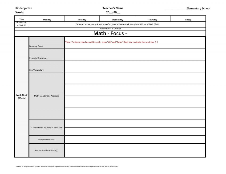 002 Impressive Lesson Plan Template For Kindergarten Common Core Photo 960