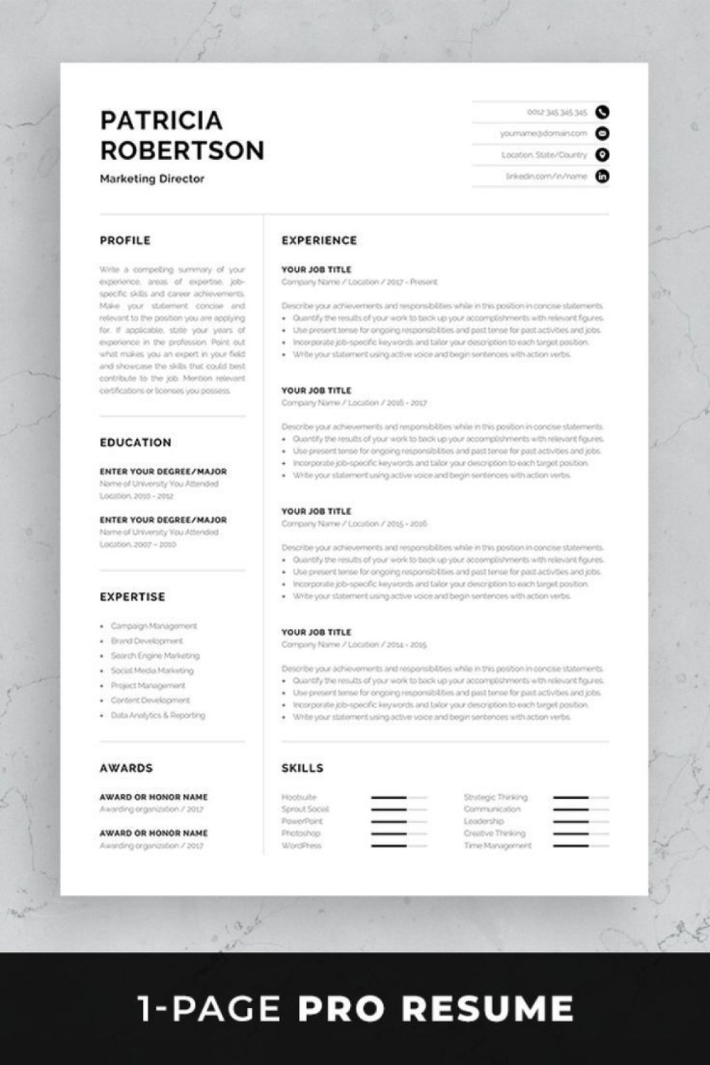 002 Impressive One Page Resume Template Photo  Templates Microsoft Word FreeLarge
