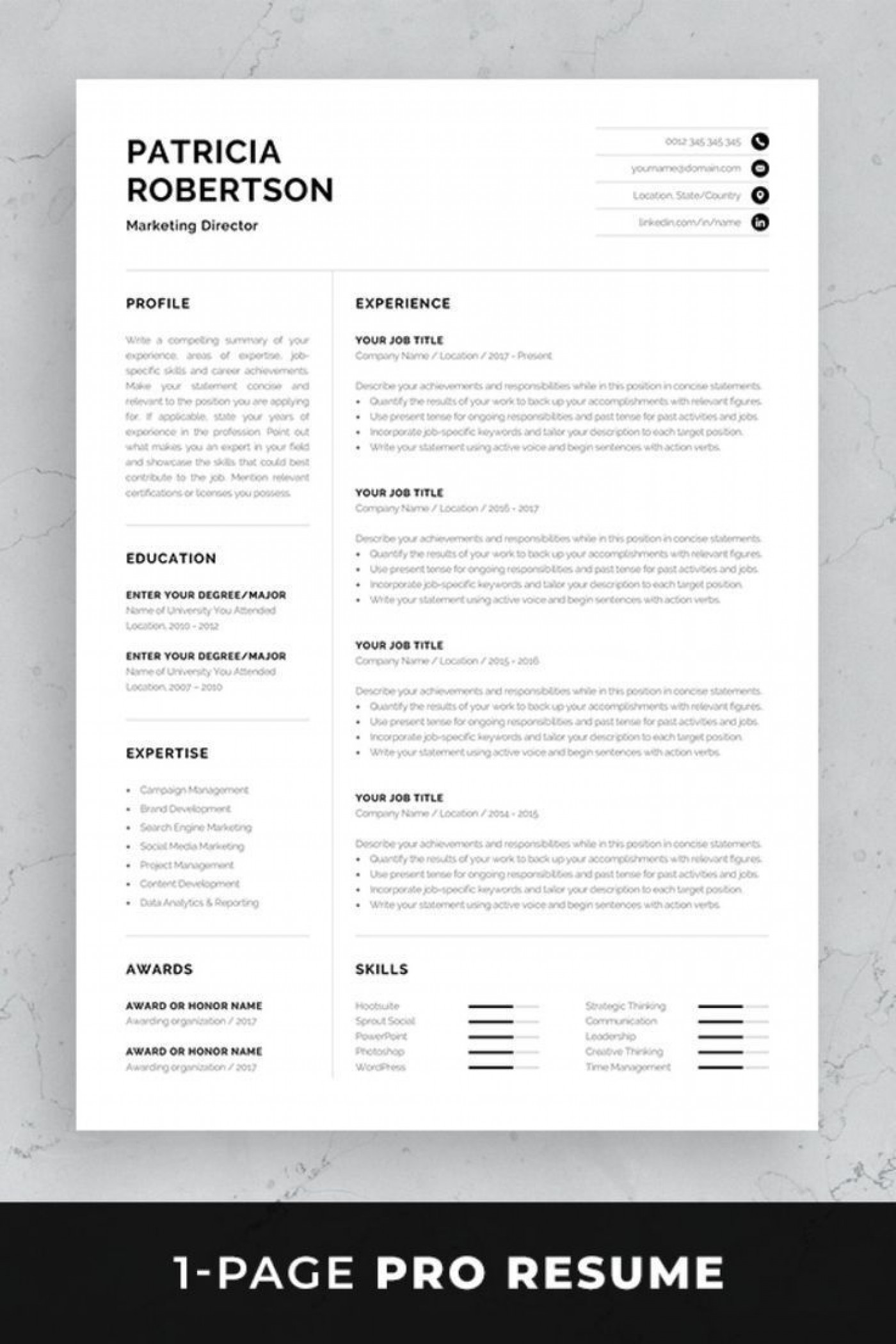 002 Impressive One Page Resume Template Photo  Word Free For Fresher Ppt Download Html1400