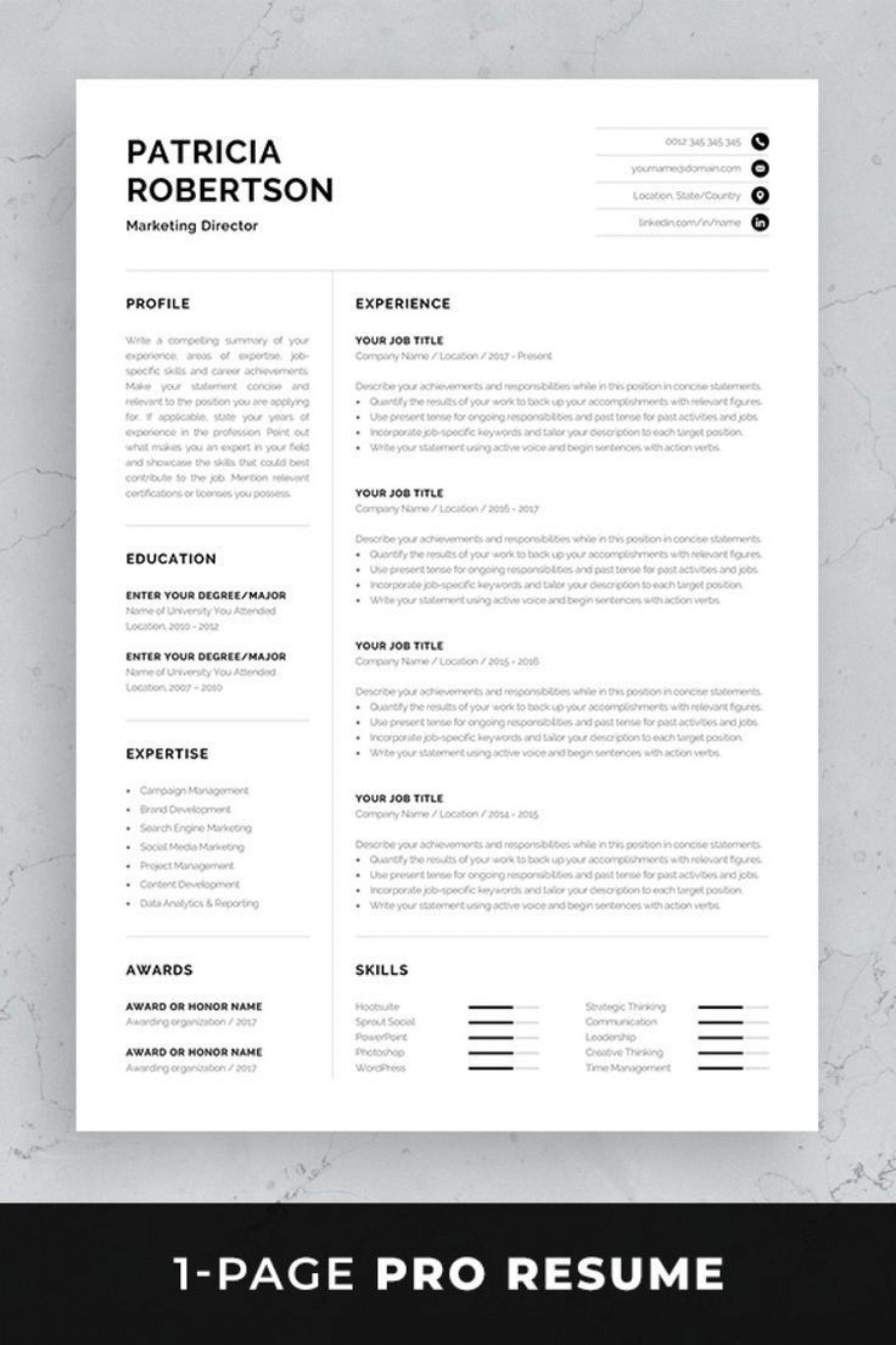 002 Impressive One Page Resume Template Photo  Templates Microsoft Word Free1920