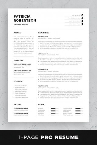 002 Impressive One Page Resume Template Photo  Word Free For Fresher Ppt Download Html320