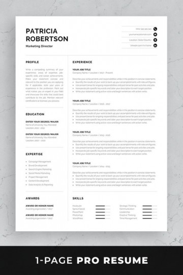 002 Impressive One Page Resume Template Photo  Word Free For Fresher Ppt Download Html360