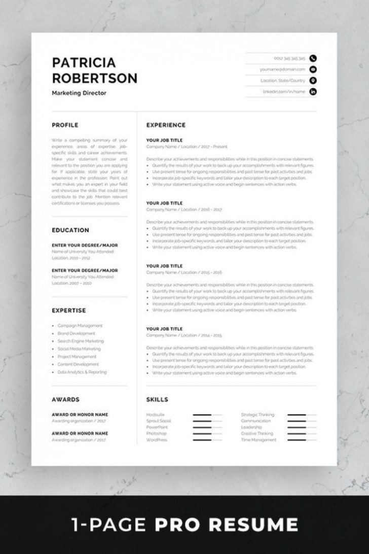 002 Impressive One Page Resume Template Photo  Word Free For Fresher Ppt Download Html728