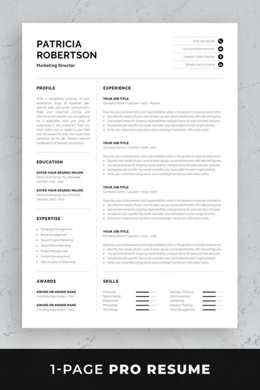 002 Impressive One Page Resume Template Photo  Word Free For Fresher Ppt Download Html868