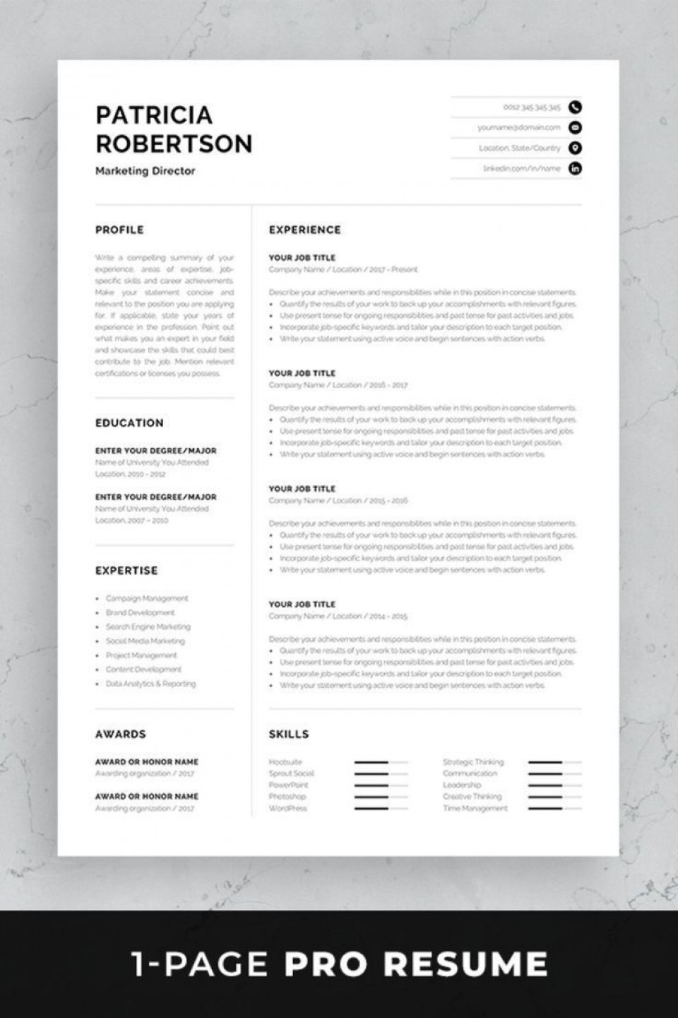 002 Impressive One Page Resume Template Photo  Word Free For Fresher Ppt Download Html960