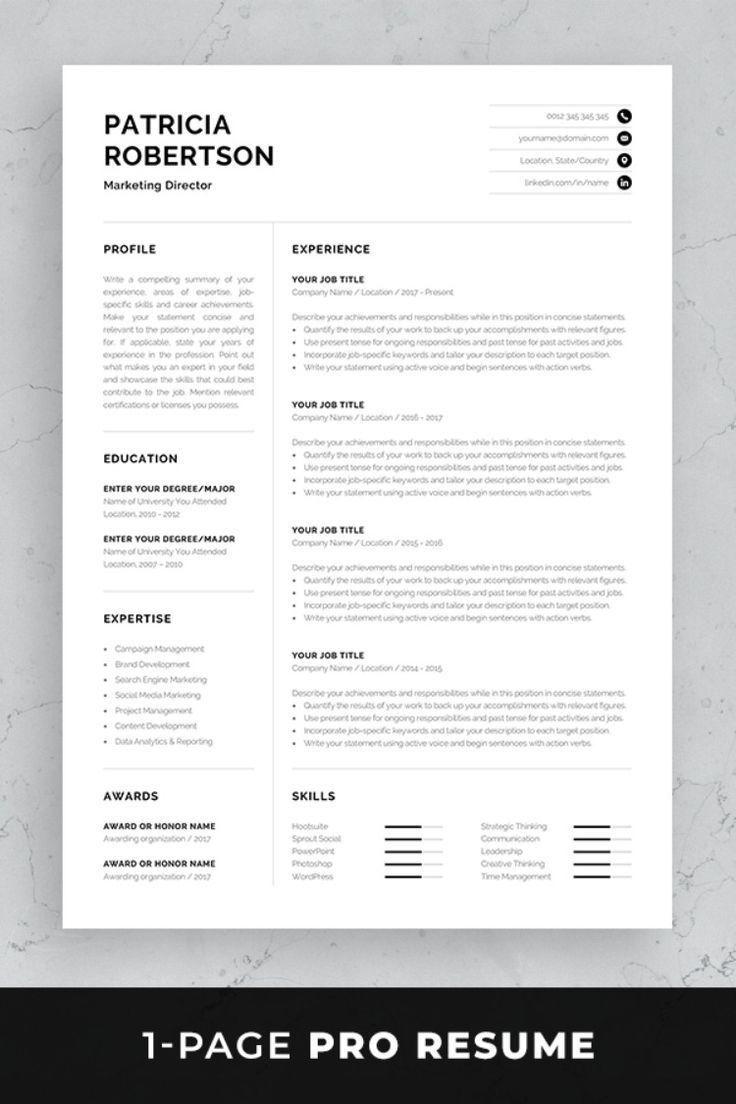 002 Impressive One Page Resume Template Photo  Templates Microsoft Word FreeFull