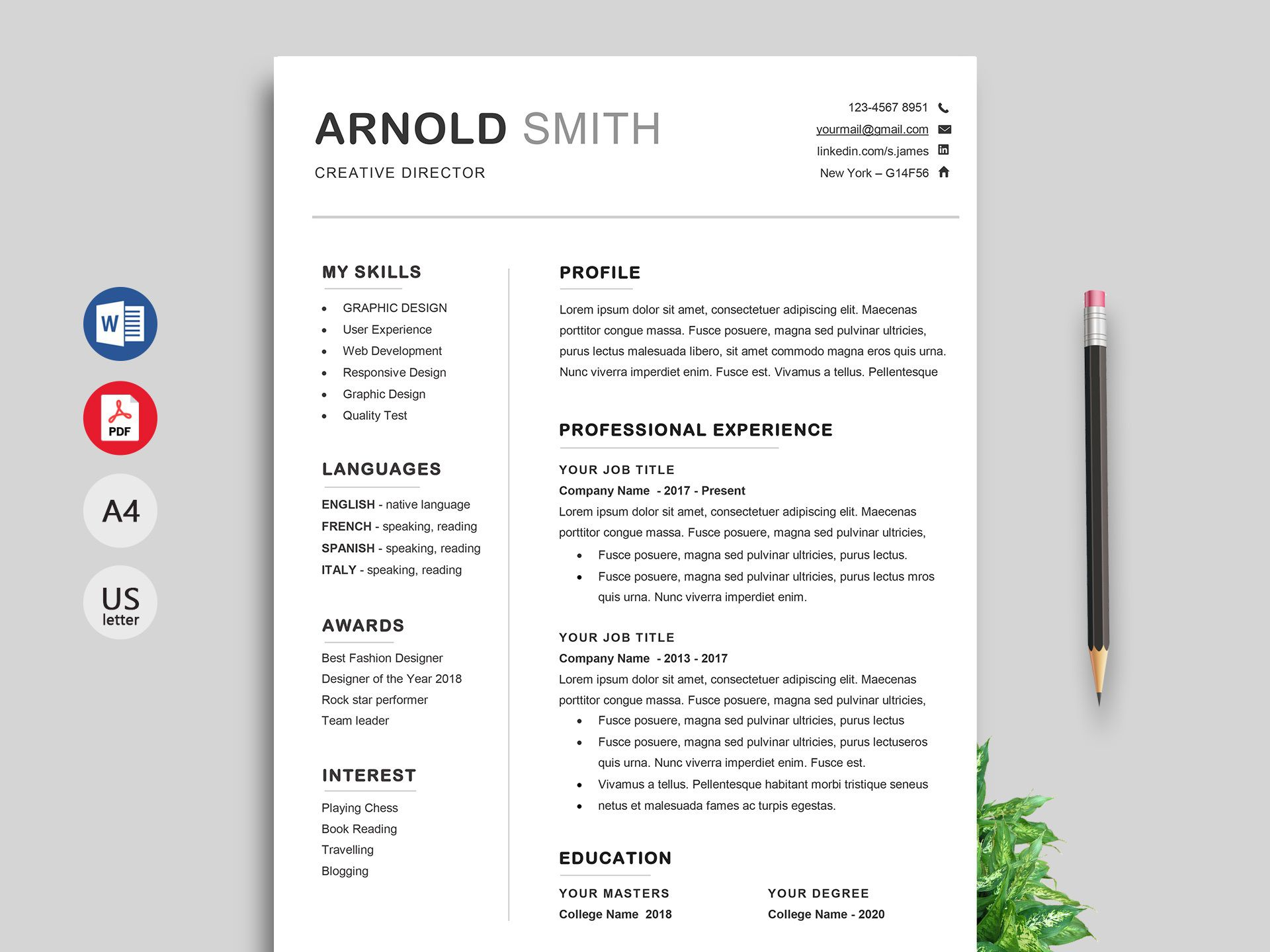 002 Impressive Professional Resume Template Word Free Download High Def  Cv 2020 With PhotoFull