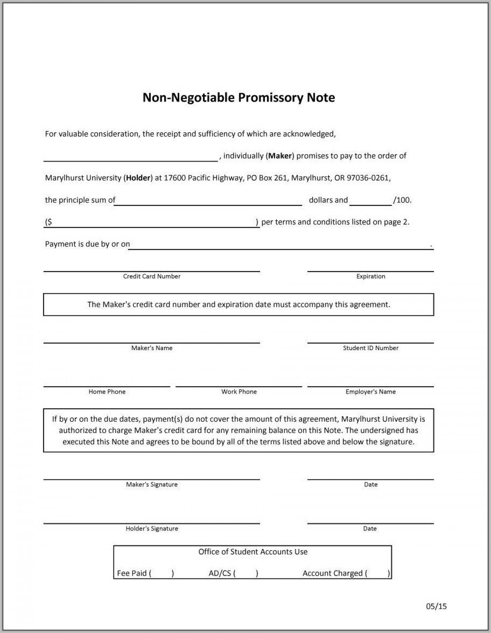 002 Impressive Promissory Note Template Free Image  Printable Blank Form Download Pdf Canada1920