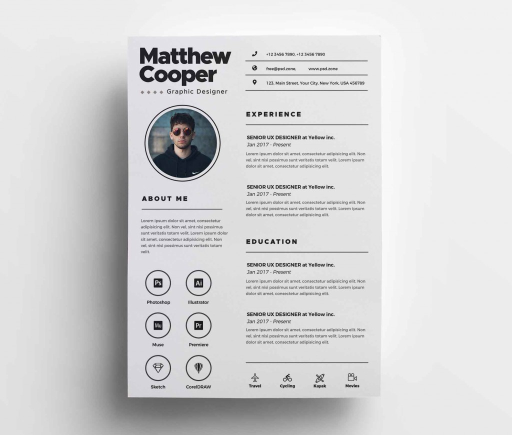 002 Impressive Psd Cv Template Free Concept  2018 Vector Photo And File Download ArchitectLarge