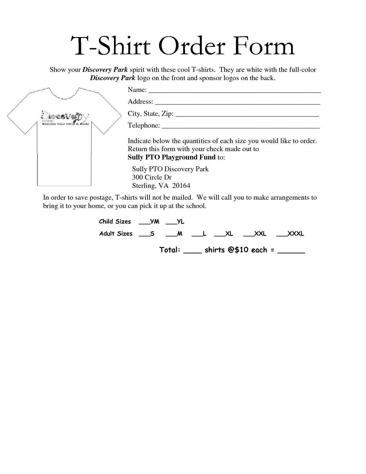 002 Impressive Shirt Order Form Template Design  Tee T Microsoft WordFull