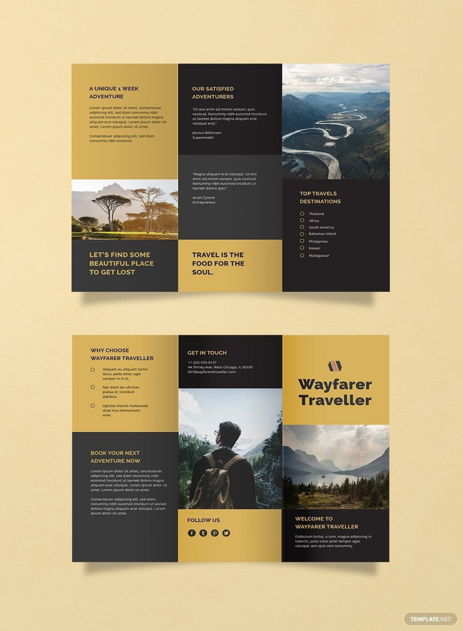 002 Impressive Three Fold Brochure Template Word Free Photo  3 Download1920