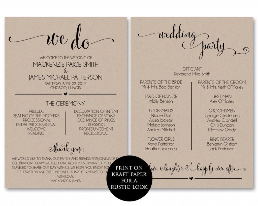 002 Impressive Wedding Program Template Free Download Idea  Downloadable Pdf Reception Microsoft Word FanLarge