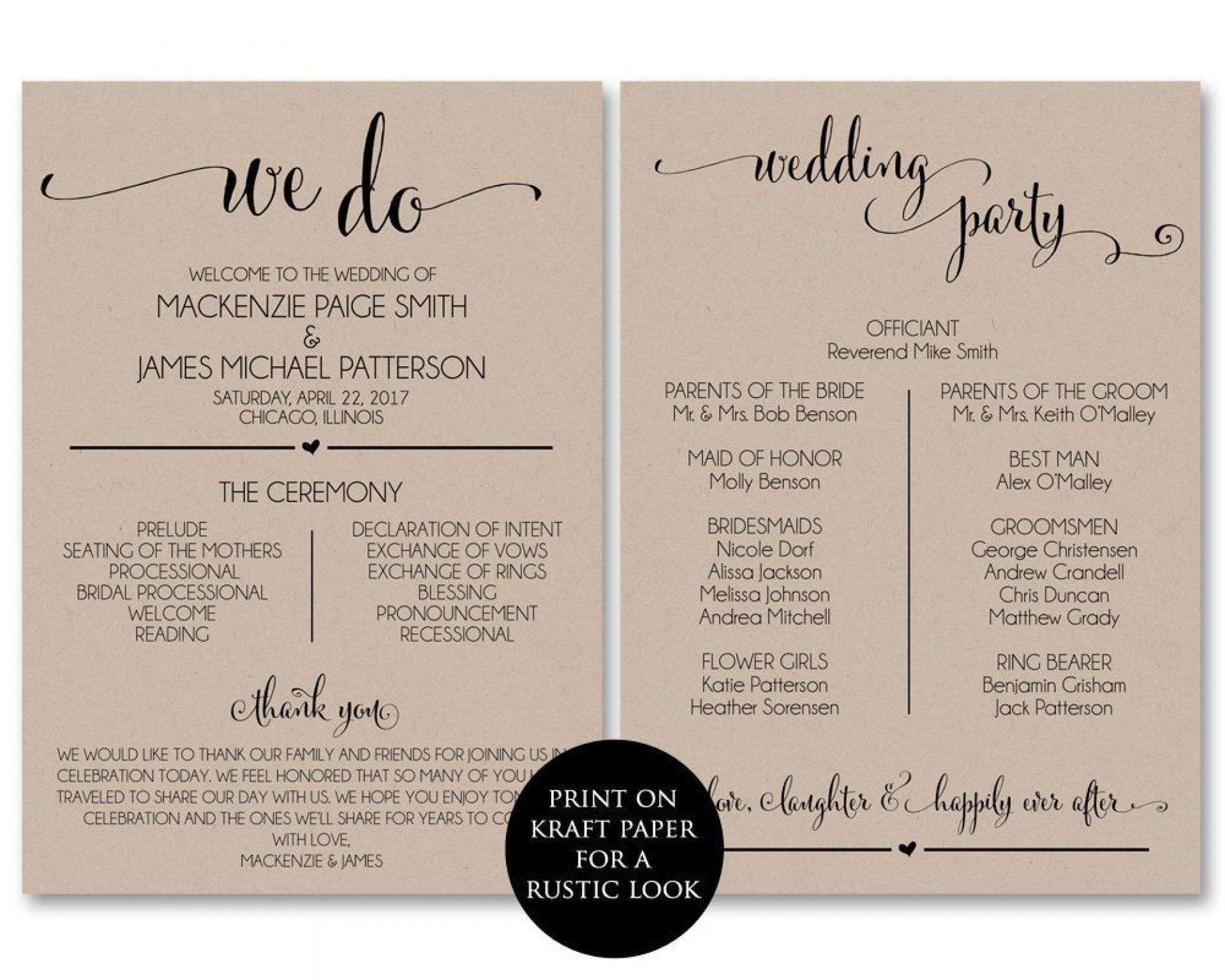 002 Impressive Wedding Program Template Free Download Idea  Downloadable Fan Microsoft Word Printable Editable1920