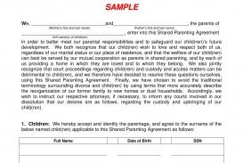 002 Incredible Child Custody Agreement Template High Definition  Texa Nc Visitation Uk