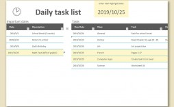 002 Incredible Daily Task List Template Design  Excel Download To Do Free