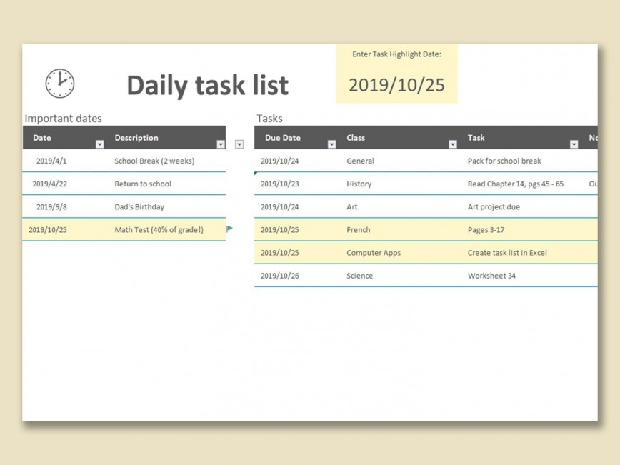 002 Incredible Daily Task List Template Design  Format Excel Free Printable To Do