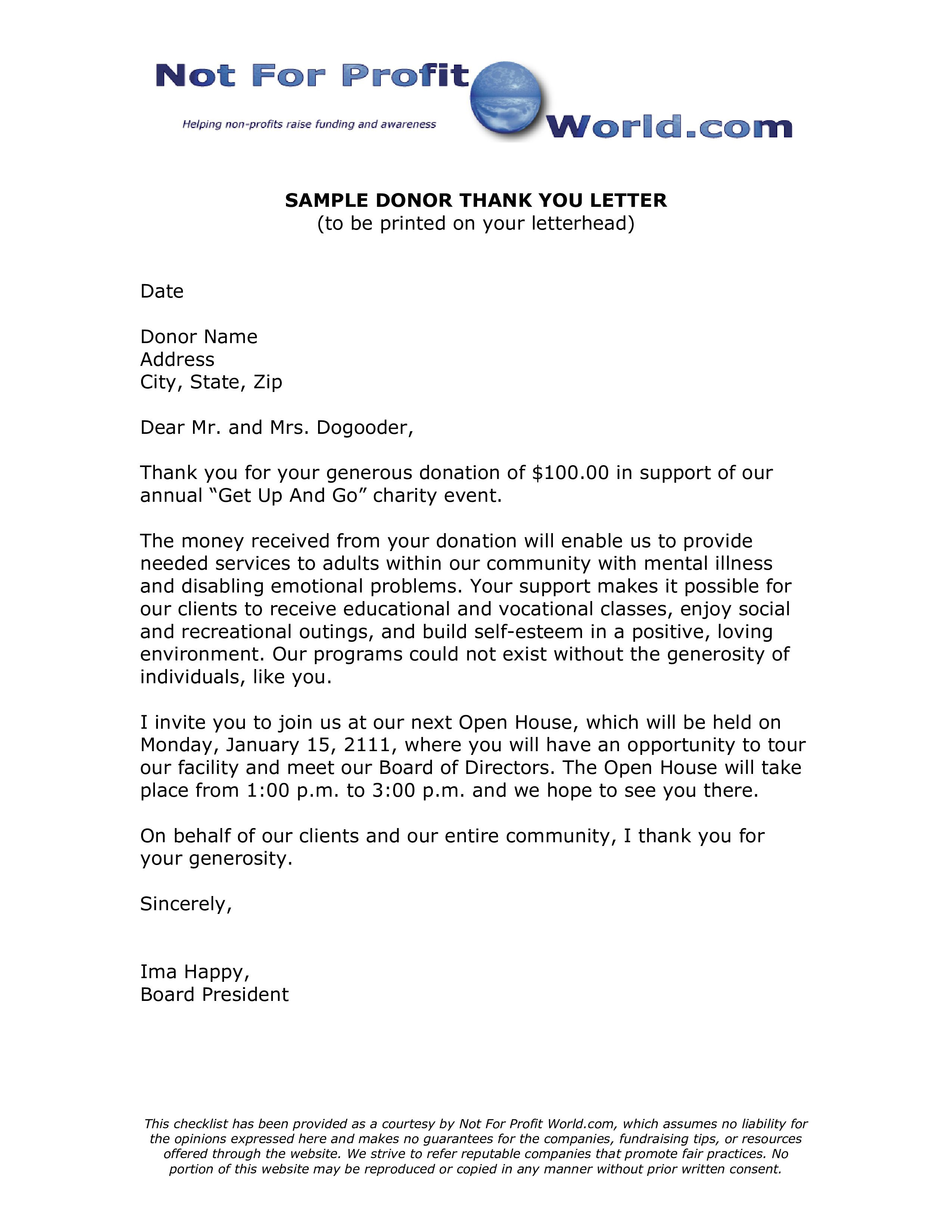 002 Incredible Donor Thank You Letter Template Sample  Donation For Church CharitableFull