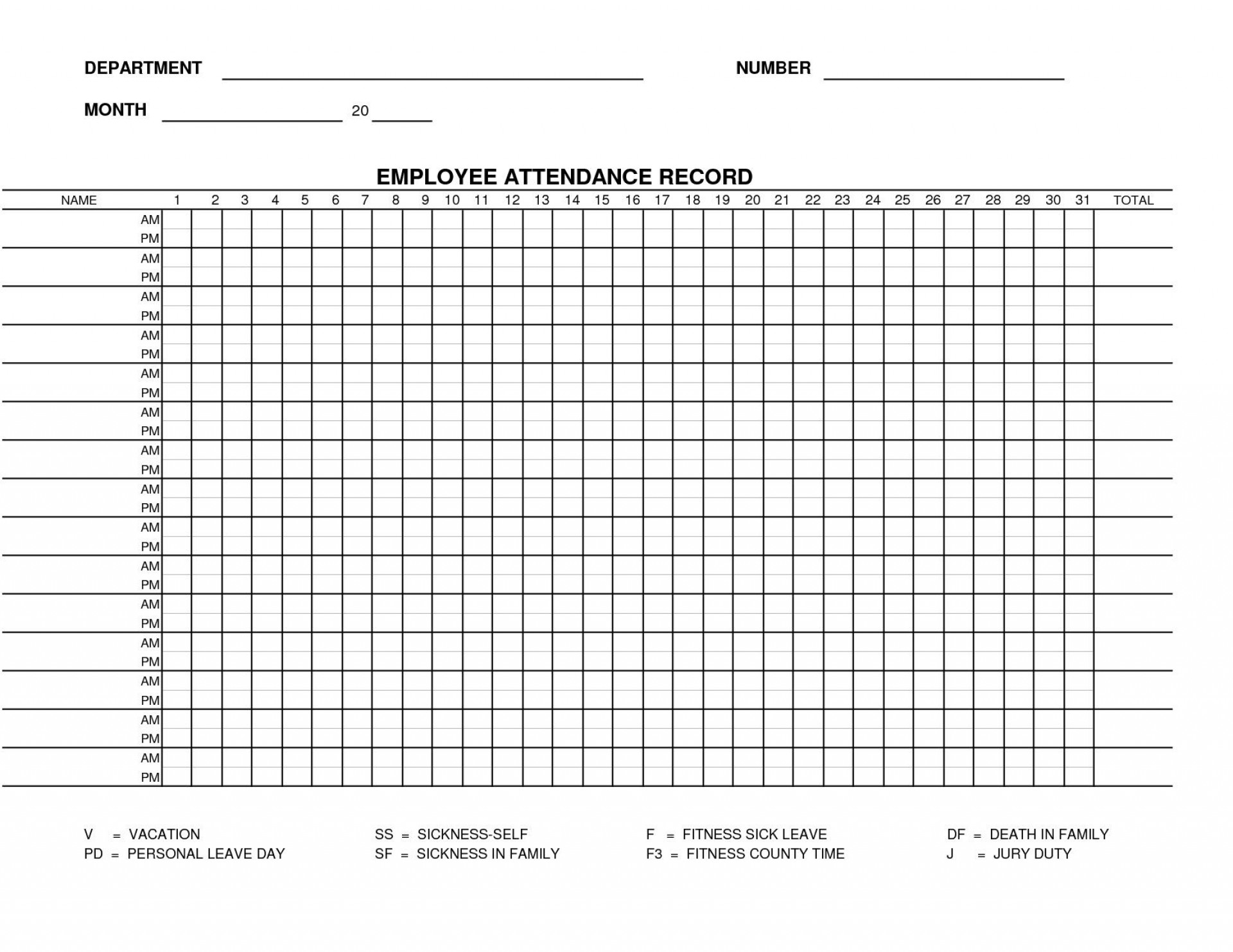 002 Incredible Employee Attendance Record Template Excel Inspiration  Free Download With Time1920