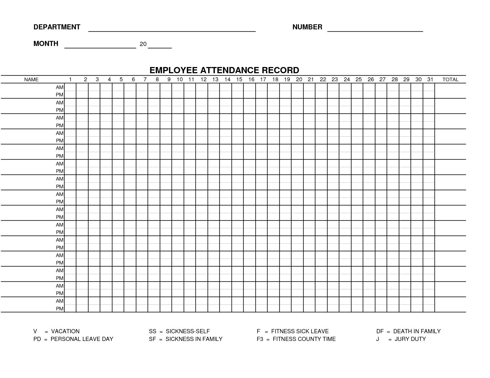 002 Incredible Employee Attendance Record Template Excel Inspiration  Free Download With TimeFull