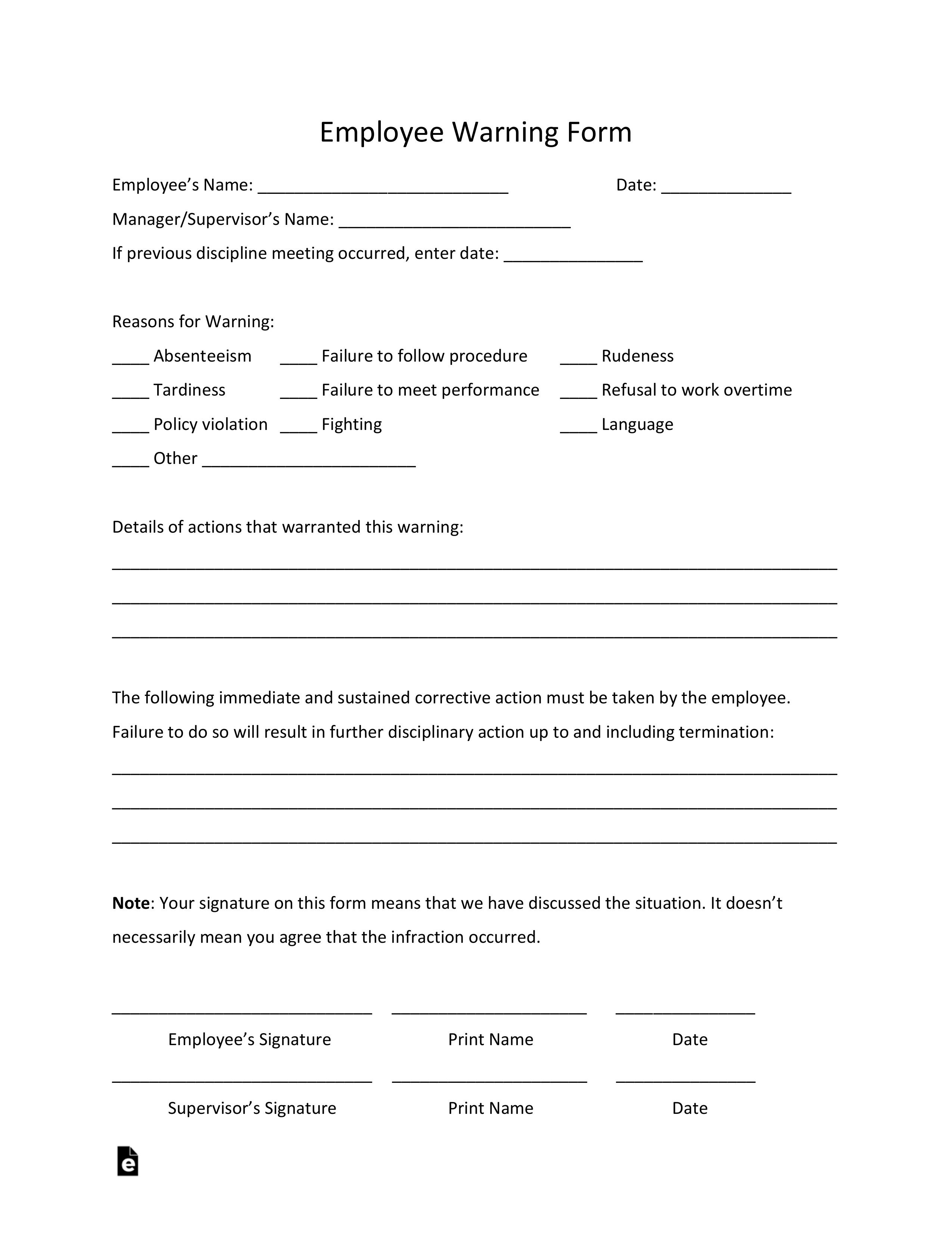 002 Incredible Employee Warning Notice Template Word High Def Full