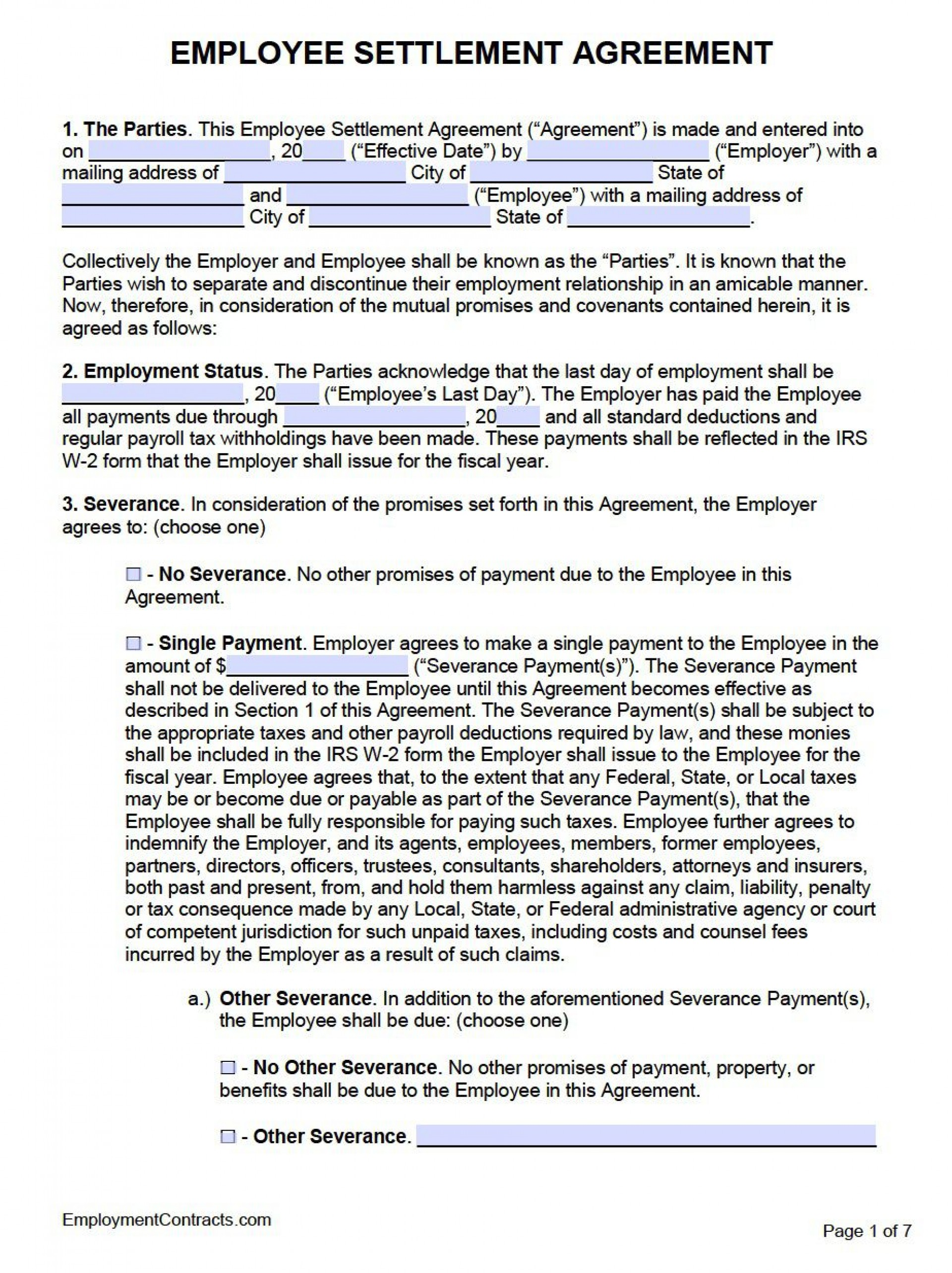002 Incredible Employment Separation Agreement Template High Def  Nc Shrm Employee Florida1920