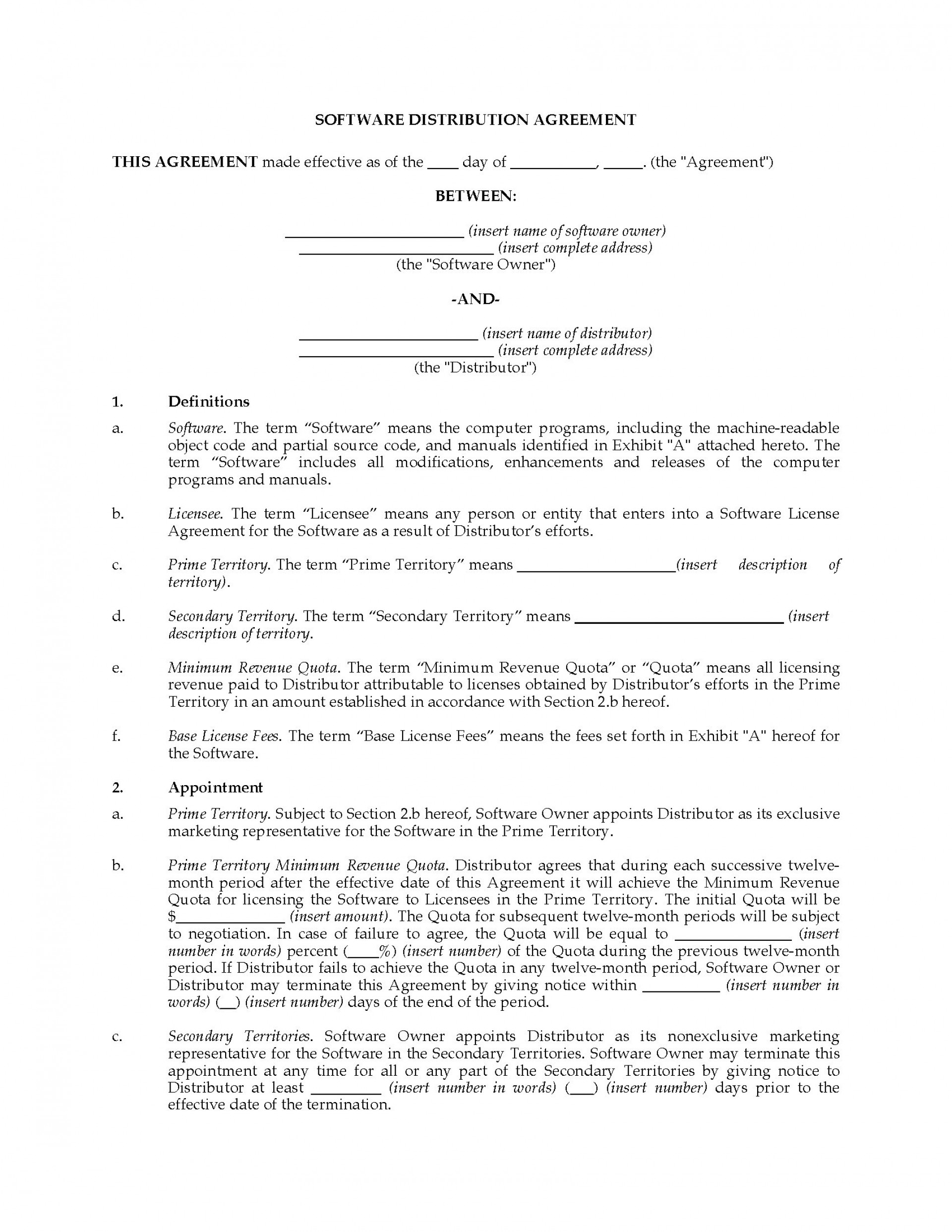 002 Incredible Exclusive Distribution Agreement Template Canada Design 1920
