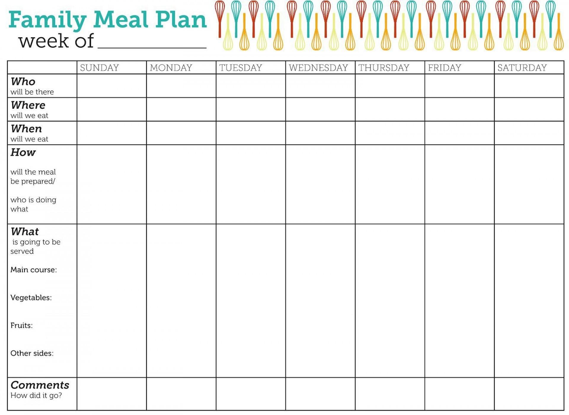 002 Incredible Family Meal Planner Template Sample  Word Menu1920
