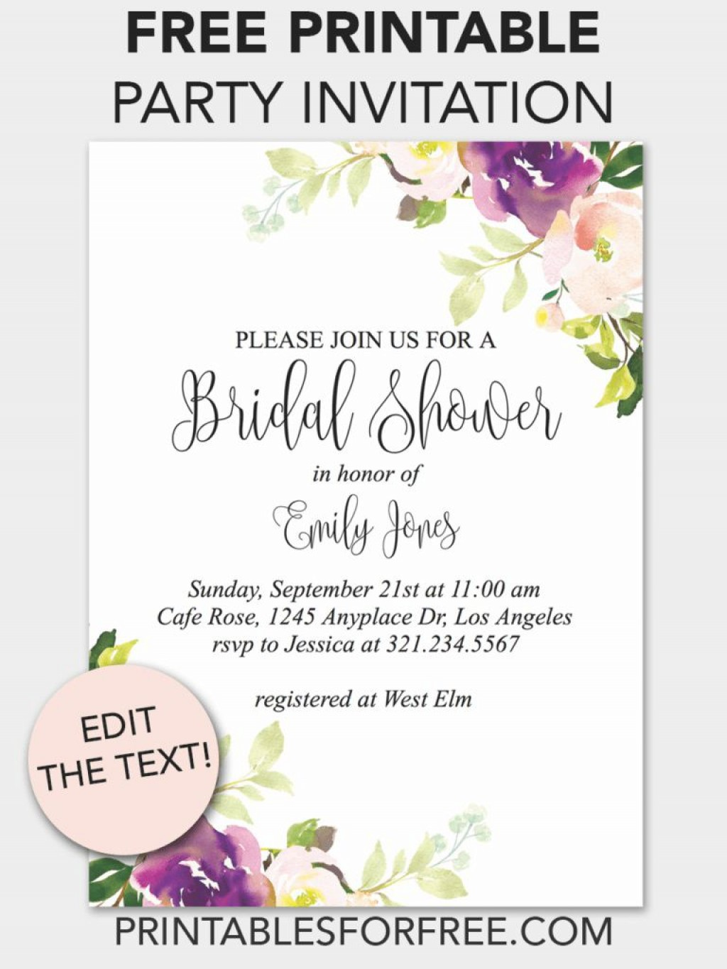 002 Incredible Free Bridal Shower Invite Template Concept  Templates Invitation To Print Online Wedding For Microsoft WordLarge