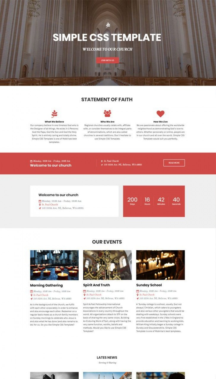 002 Incredible Free Simple Web Page Template Example  Html One Website Download With Cs728