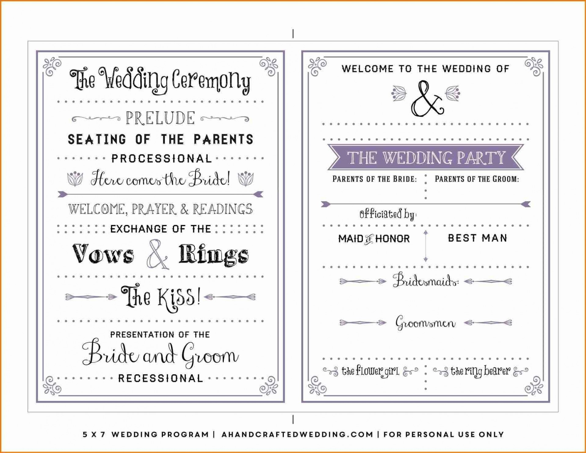 002 Incredible Free Wedding Order Of Service Template Microsoft Word Idea 1920