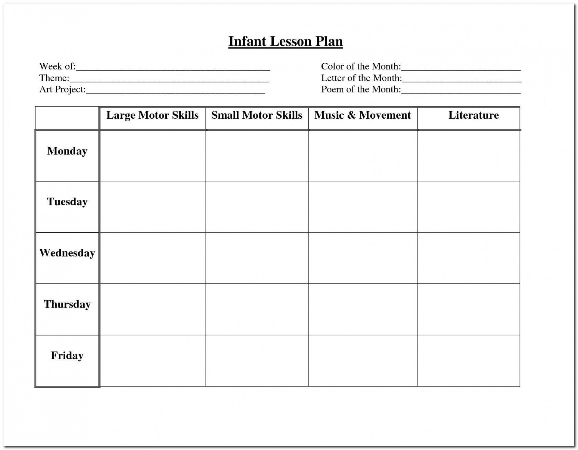 002 Incredible Free Weekly Lesson Plan Template Example  Pdf Preschool Word For Elementary Teacher1920