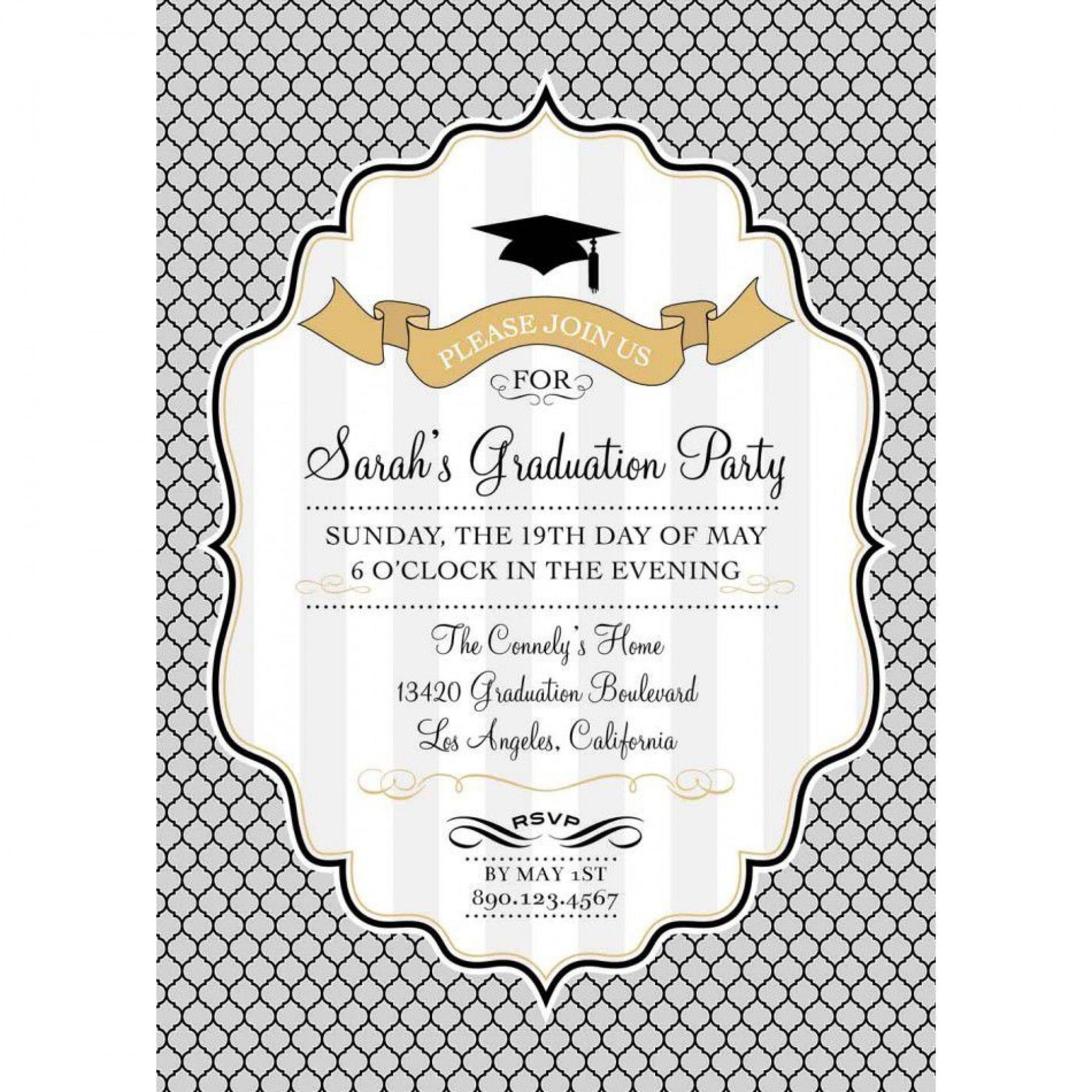 002 Incredible Graduation Party Invitation Template High Resolution  Microsoft Word 4 Per Page1920
