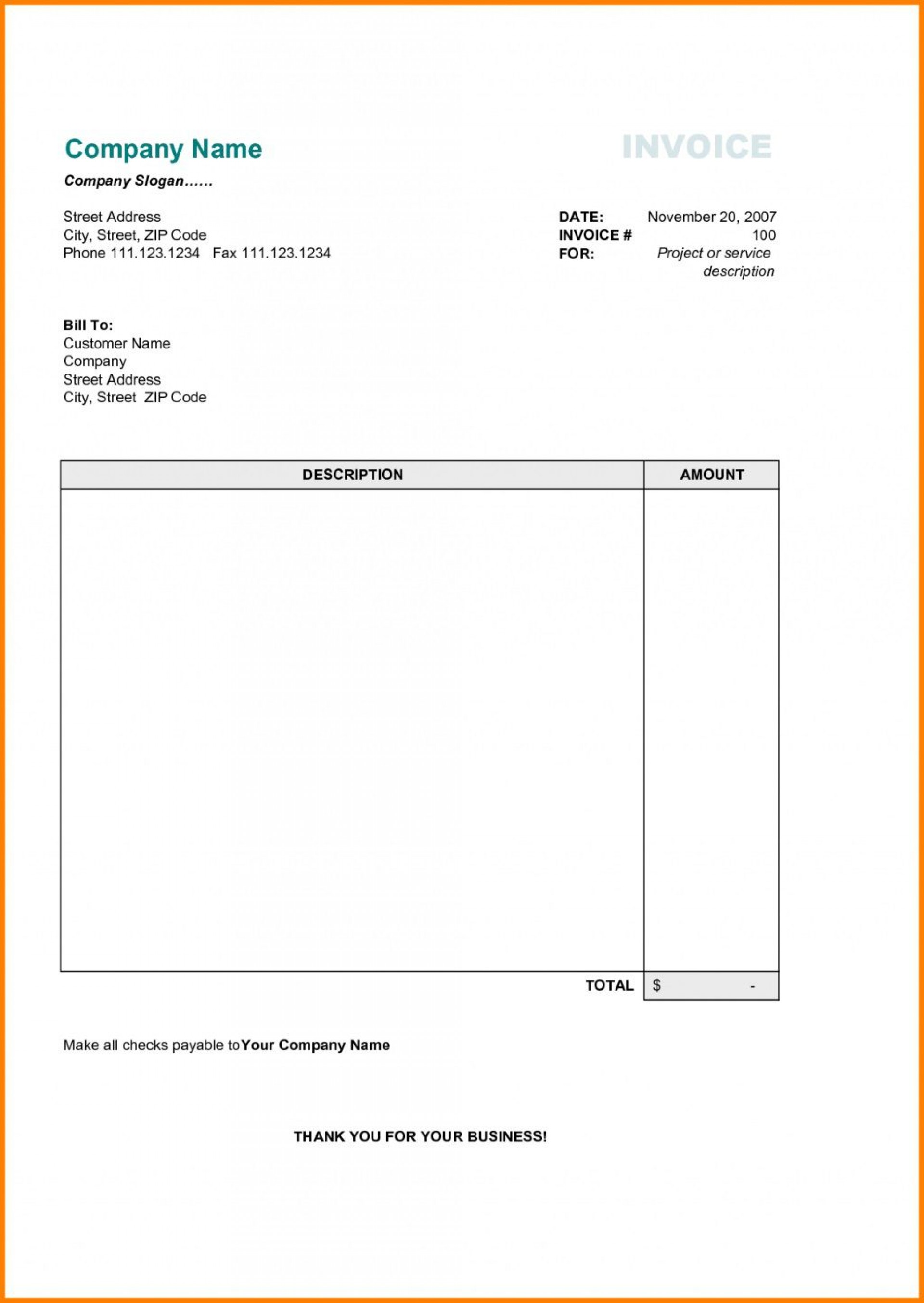 002 Incredible Invoice Template For Word Example  Download Blank Free1920