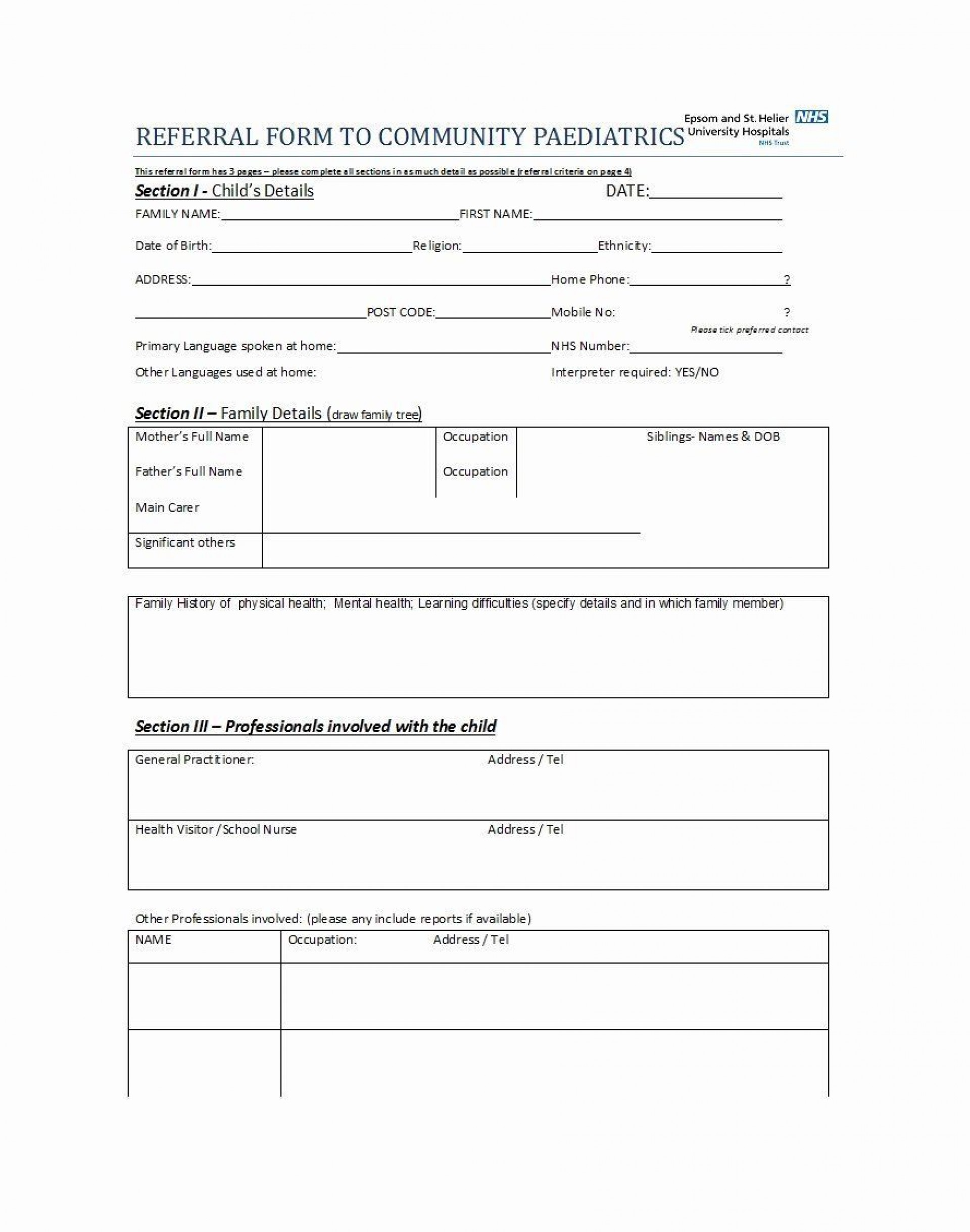 002 Incredible Medical Referral Form Template Highest Quality  Dental Patient Doctor Free Physician1920