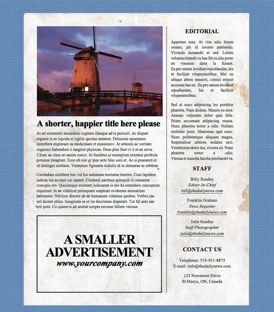 002 Incredible Microsoft Word Newspaper Template Design  Vintage Old Fashioned960