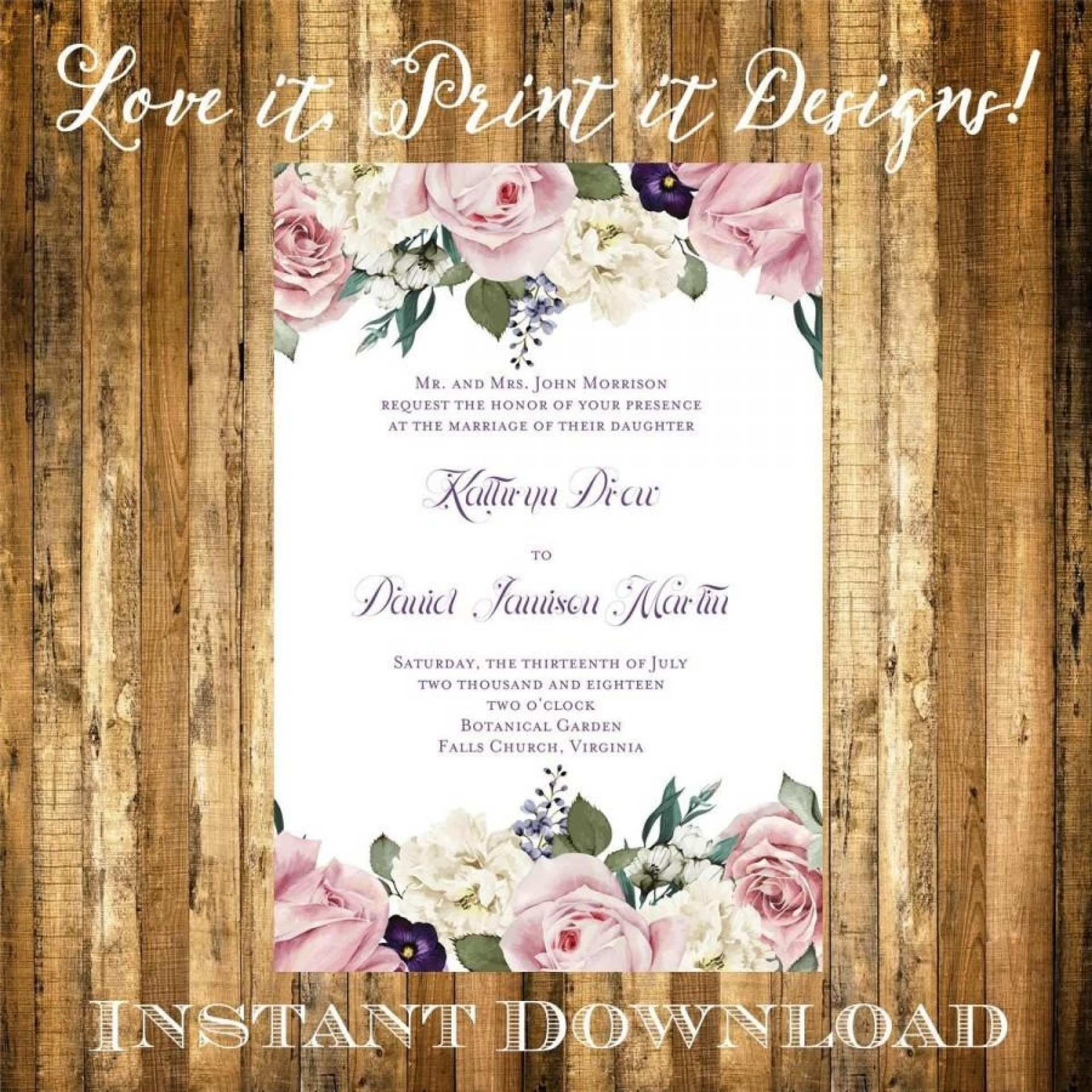 002 Incredible Microsoft Word Wedding Invitation Template Idea  Templates M Editable Free Download Chinese1920