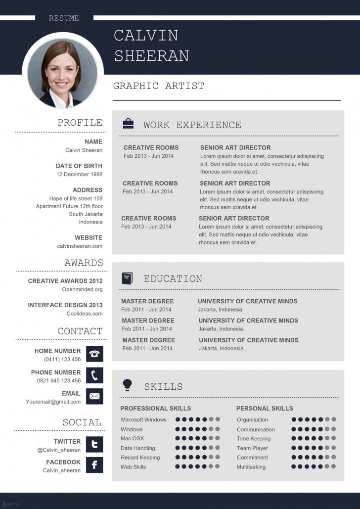 002 Incredible Resume Microsoft Word Template Picture  Cv/resume Design Tutorial With Federal Download728