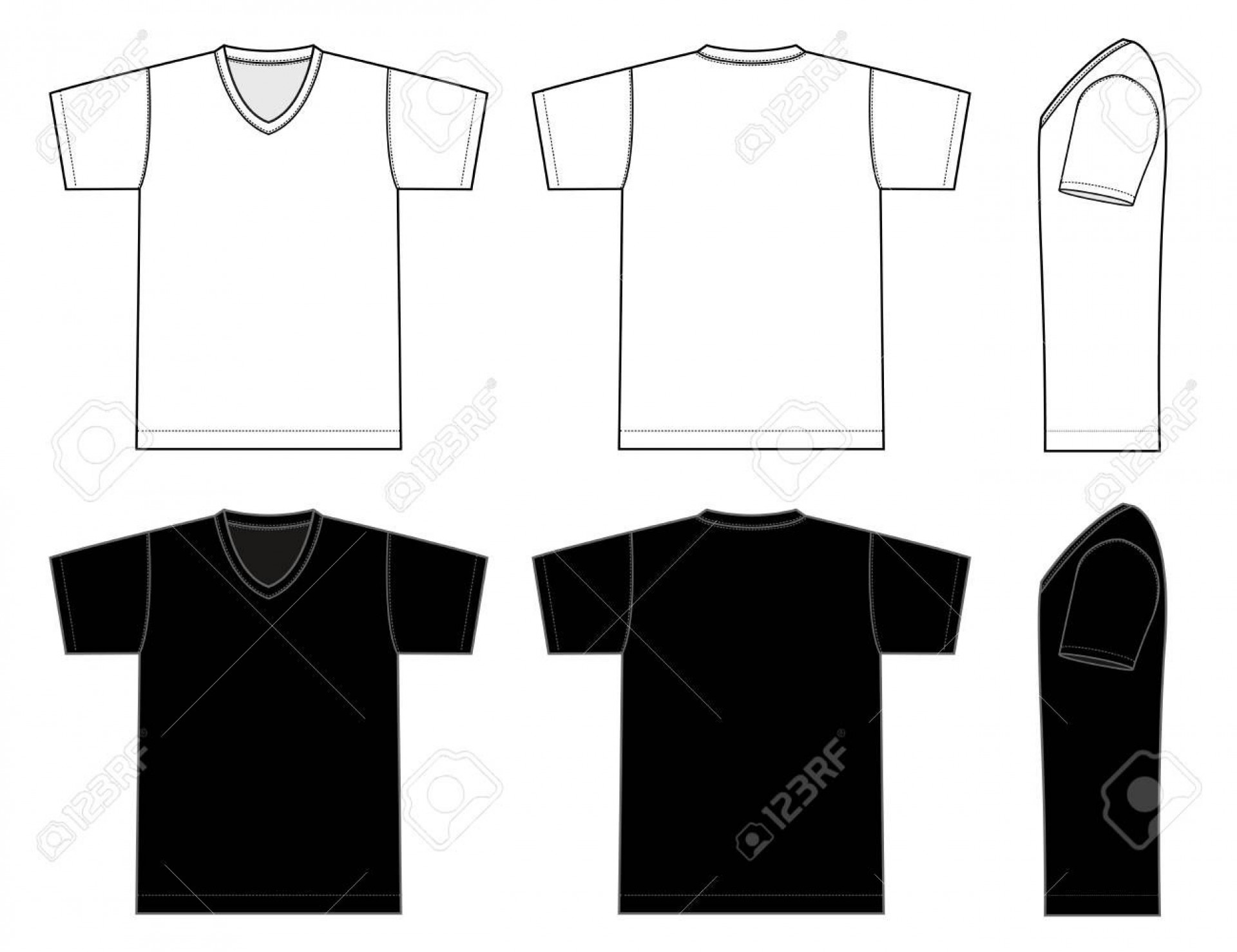 002 Incredible T Shirt Template Vector Sample  Black Front And Back Free Download Illustrator1920
