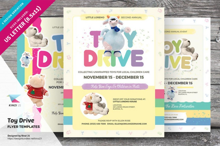 002 Incredible Toy Drive Flyer Template Picture  Christma Free Download