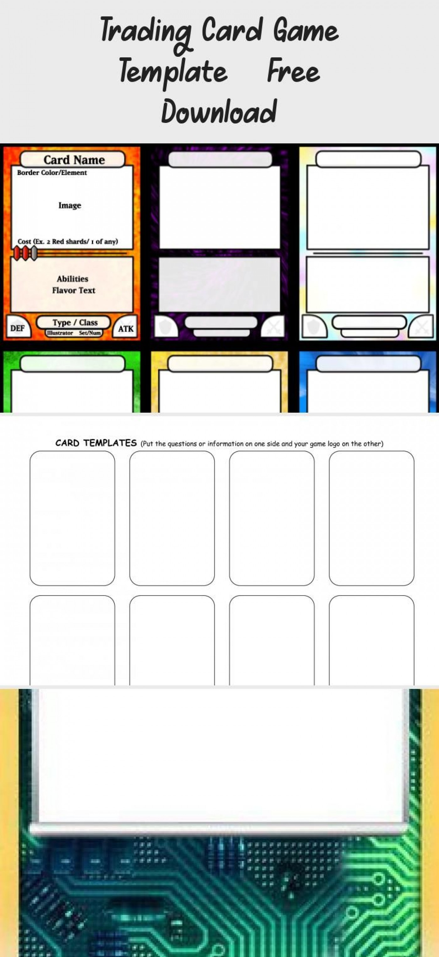 002 Incredible Trading Card Template Free Design  Game Maker Download1400