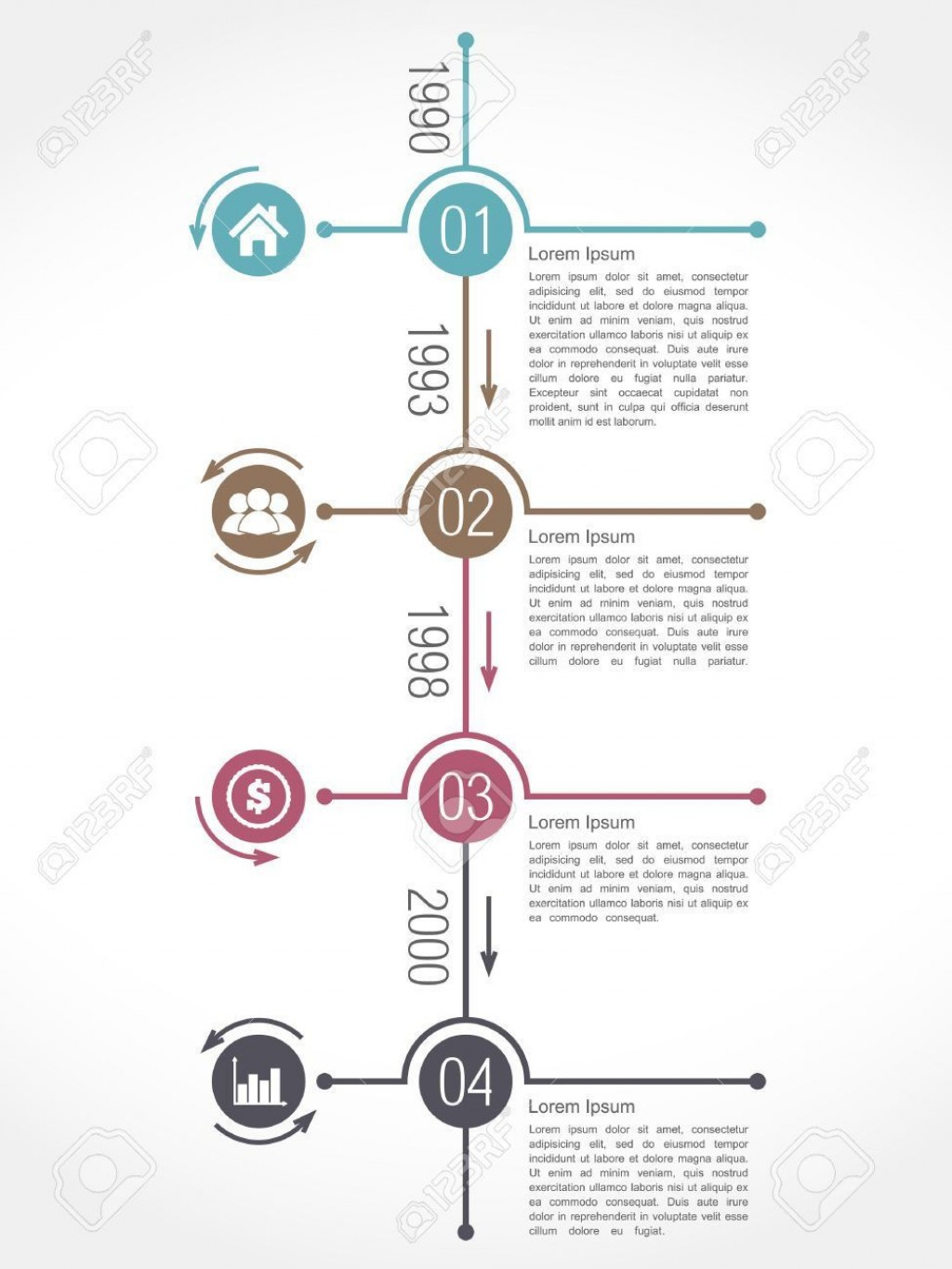 002 Incredible Vertical Timeline Template For Word High Def  BlankLarge