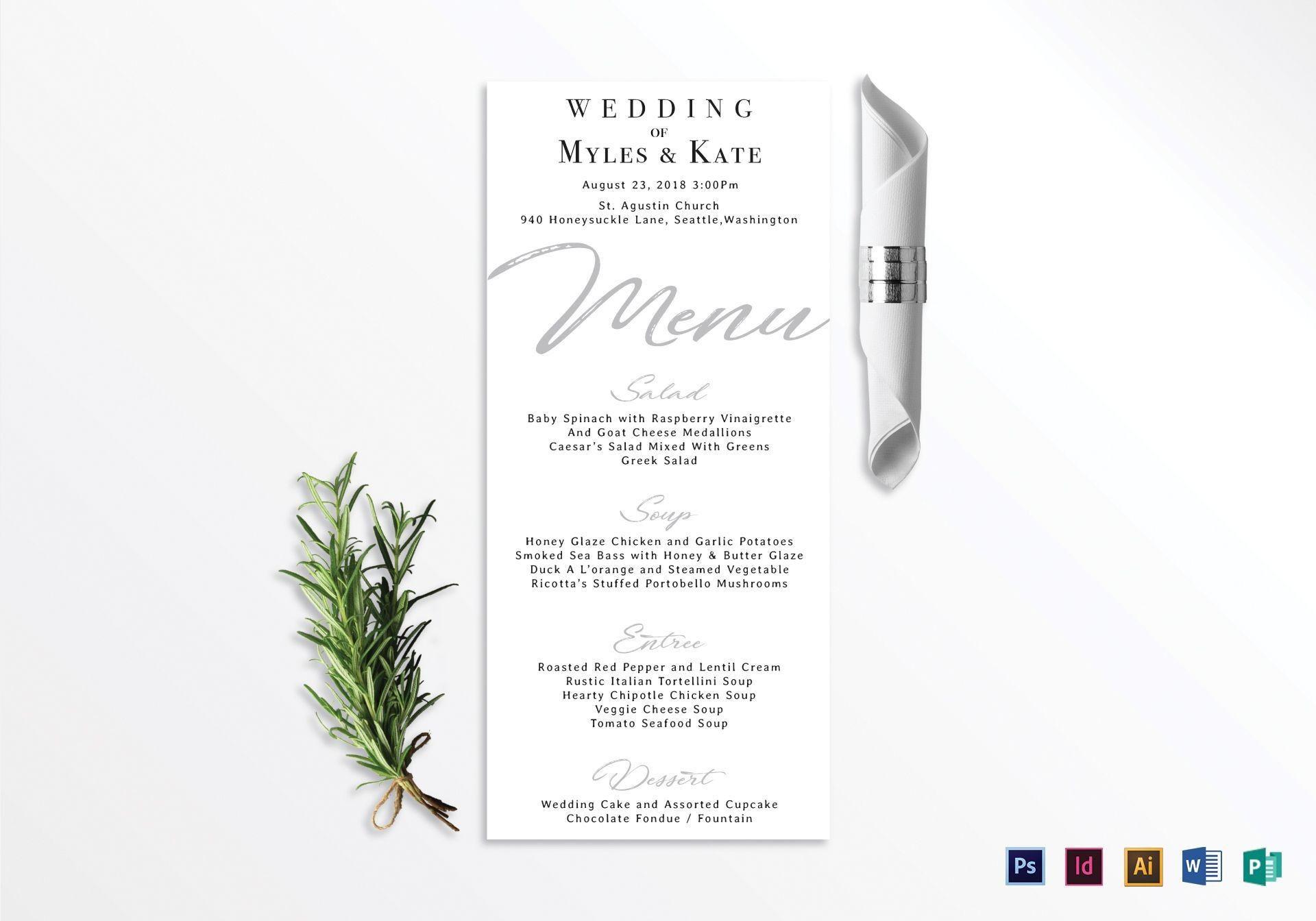 002 Incredible Wedding Menu Card Template Word Example 1920