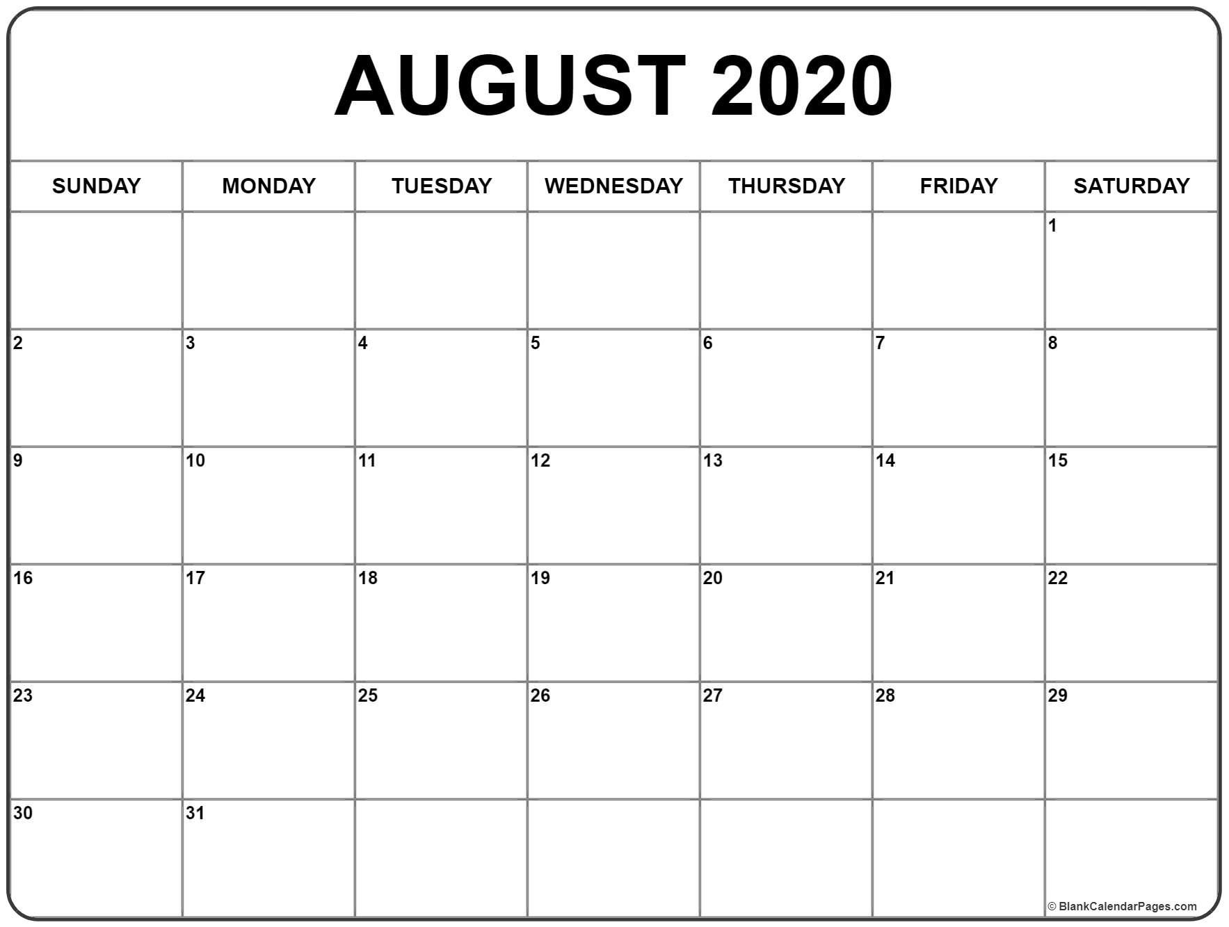 002 Magnificent 2020 Blank Calendar Template Example  Printable Monthly Word Downloadable With HolidayFull