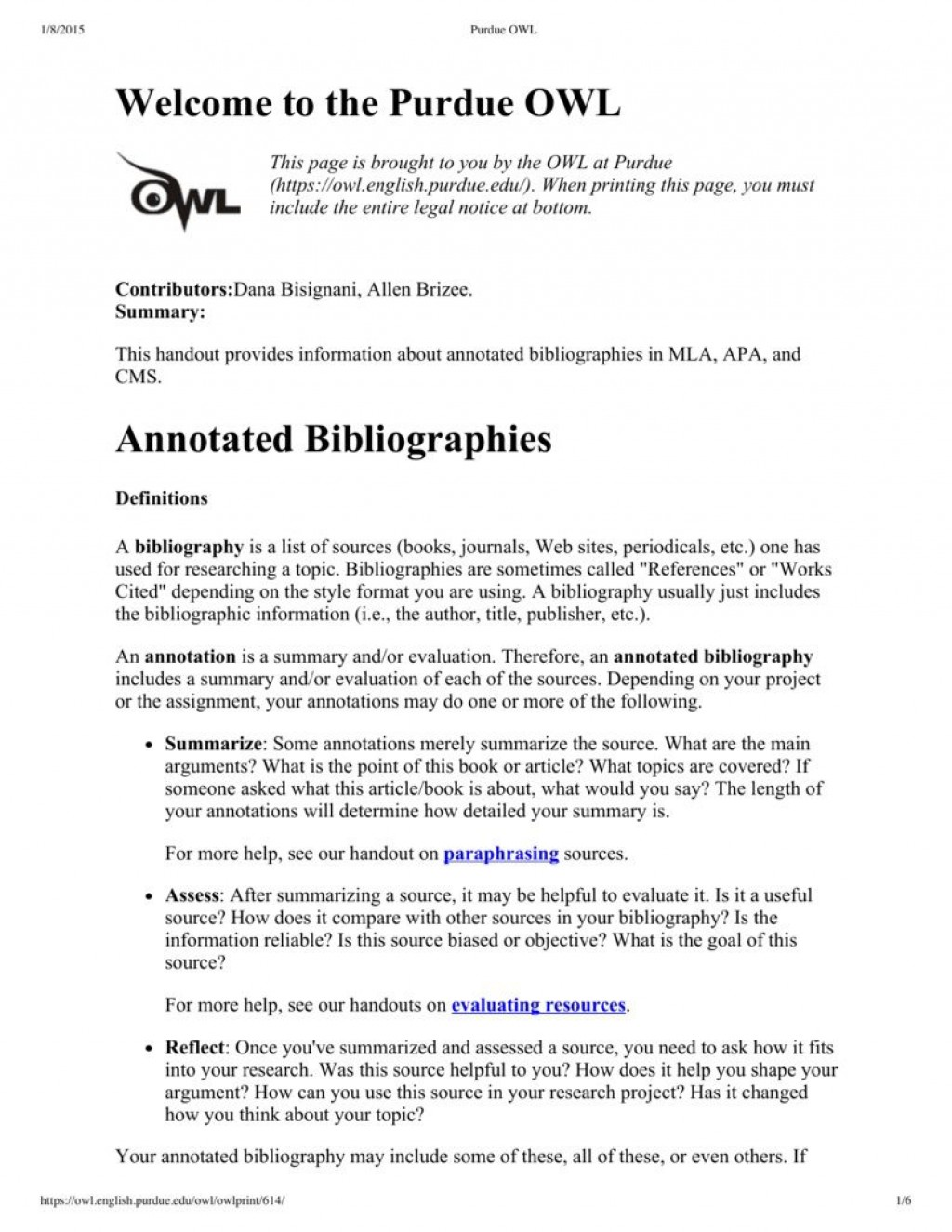 Annotated Bibliography - APA Citation Guide (6th edition) - LibGuides at Columbia College (BC)