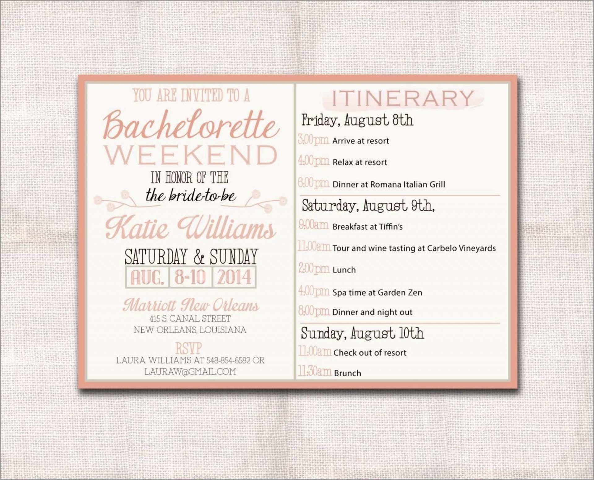 002 Magnificent Bachelorette Party Itinerary Template Free Picture  Download1920