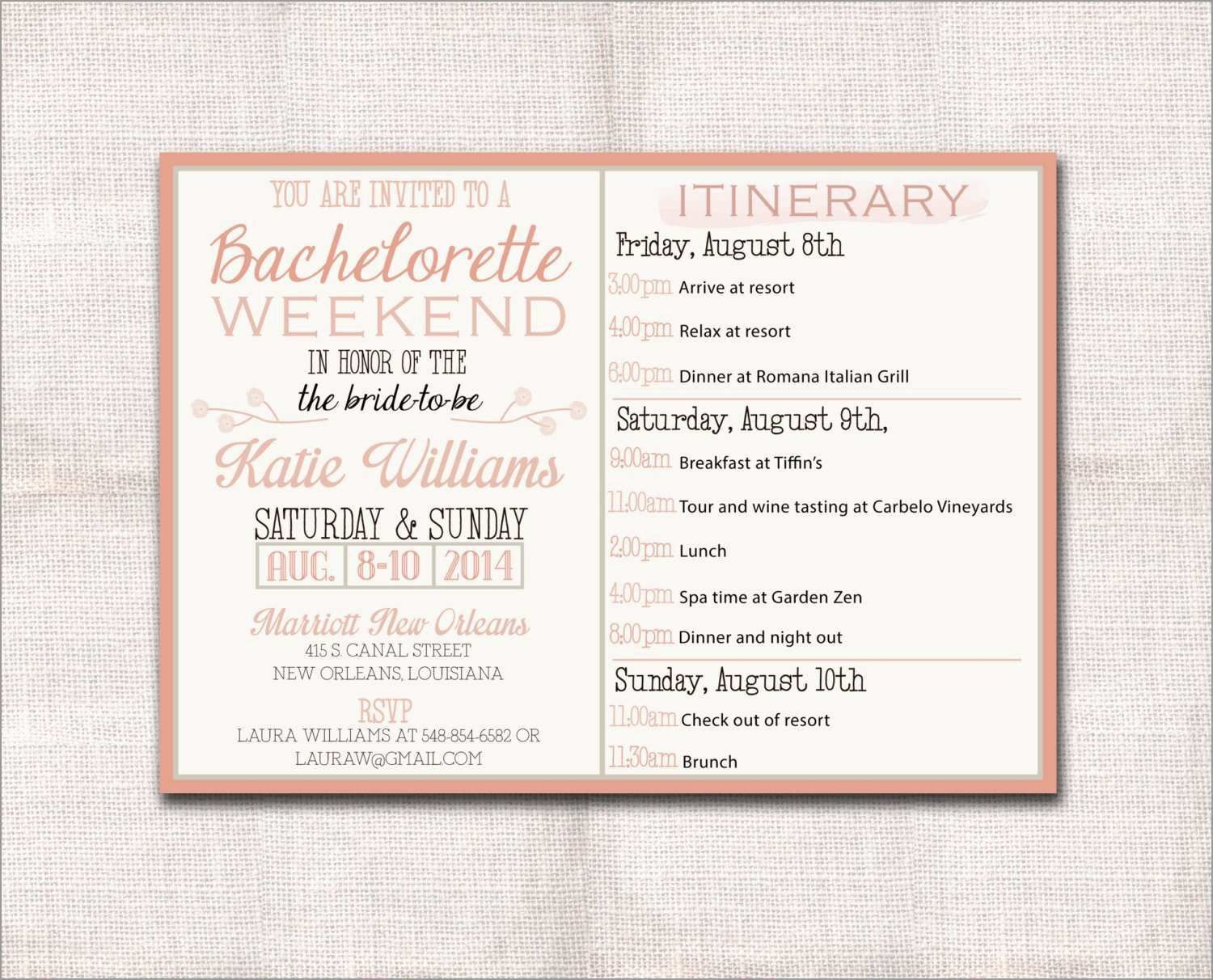 002 Magnificent Bachelorette Party Itinerary Template Free Picture  DownloadFull