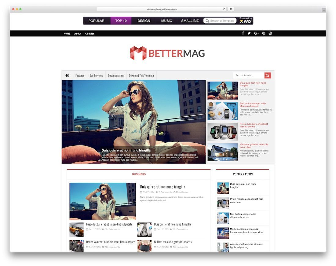 002 Magnificent Best Free Responsive Blogger Template Sample  2019 Mobile Friendly TopFull