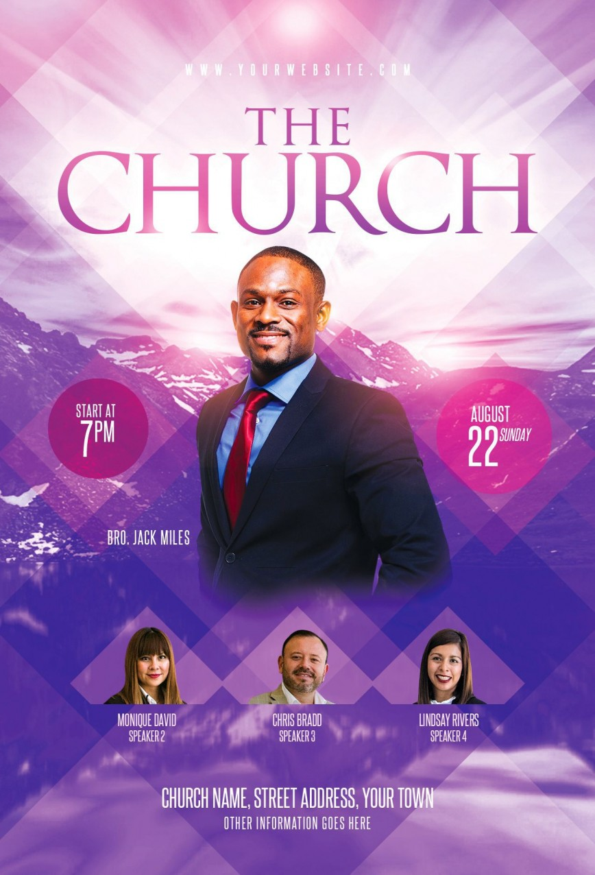 002 Magnificent Church Flyer Template Photoshop Free Image  Psd