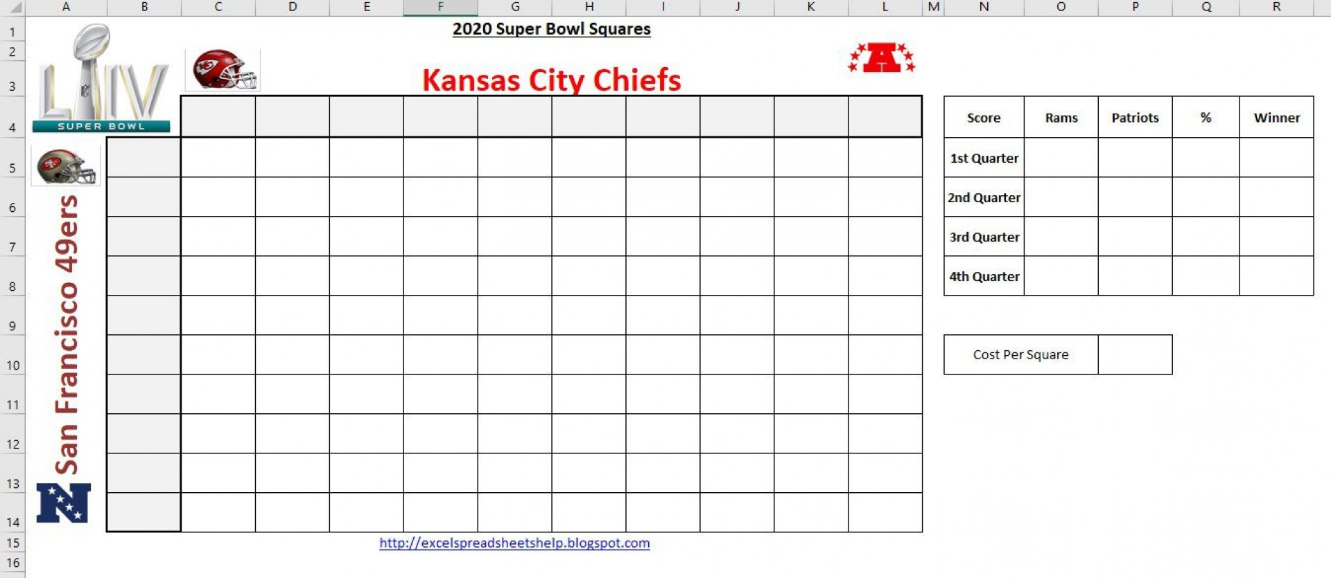 002 Magnificent Football Square Template Excel Design  Printable Pool1920